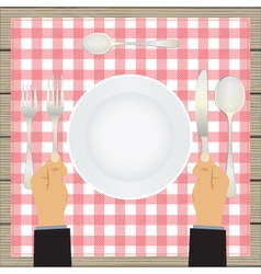 Hand with a knife and fork Tableware vector image