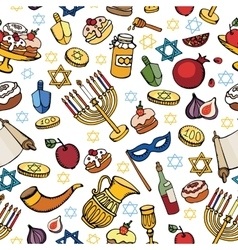 Hanukkah seamless patternDoodle Jewish Holiday vector image