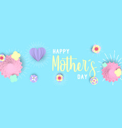 Happy mother day 3d paper art floral web banner vector