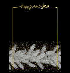 happy new year with christmas tree and gold vector image