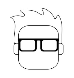 Head of man with glasses icon imag vector