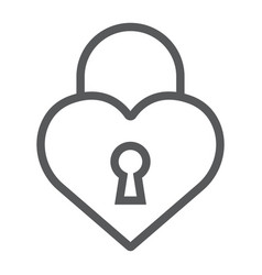 heart lock line icon love and padlock love lock vector image