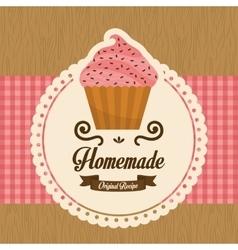 Homemade cupcake vector