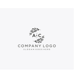 Initial ac letters floral frames monogram wedding vector