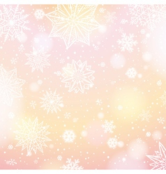 Light pink background with snowflakes and stars vector