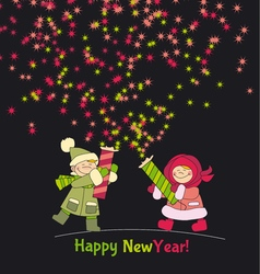 Little boy and girl shooting firecracker or vector image