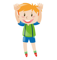 Little boy in green shirt lifting up both hands vector