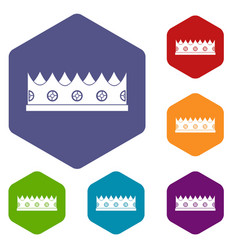 Little crown icons set hexagon vector