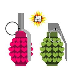 Love bomb Hand grenade from hearts Pink military vector image