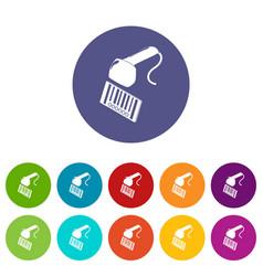 Market code scanner icons set color vector