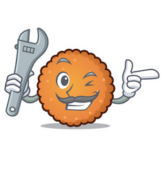 mechanic cookies mascot cartoon style vector image