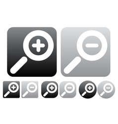 Minimal zoom in zoom out icons buttons w white vector