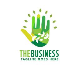 Natural hand health green logo vector