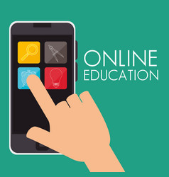 On line education with smartphone vector