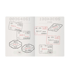 Passport pages with travel stamps international vector