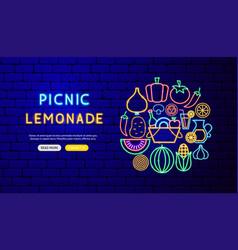 picnic lemonade neon banner design vector image