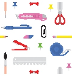 Pixel art office tools seamless vector image