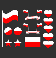 Poland flag set collection of symbols flag vector