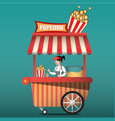 Popcorn cart carnival store and fun festival vector