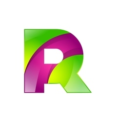 R letter green and pink logo design template vector image