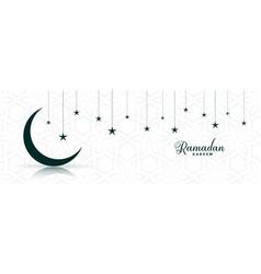 Ramadan kareem moon and star festival banner vector