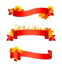 Red Autumn Ribbons and Banners vector image vector image