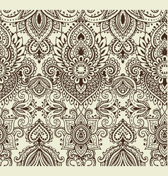Seamless pattern with henna mehndi floral vector