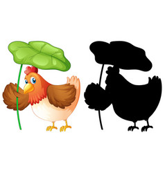 set chicken holding leaf and its silhouette vector image