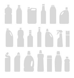set gray silhouette bottles cans vector image