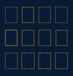 set of luxury golden frames and borders vector image