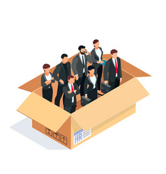 set of managers in a box isolated on white vector image