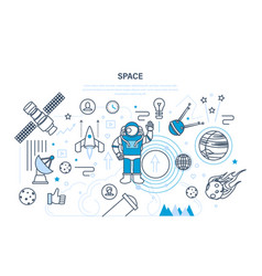 Set on space theme including transport planets vector