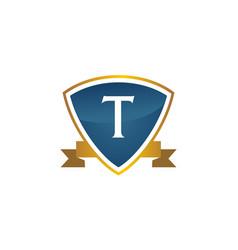 shield ribbon letter t vector image