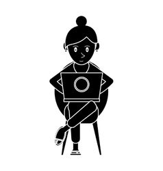 silhouette beutiful girl using laptop sitting vector image