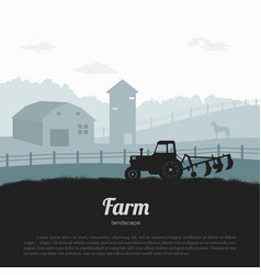 silhouettes farm landscape rural panorama vector image