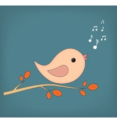 Simple card of funny cartoon bird on branch vector image