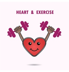 Smile heart shape with the barbell vector image