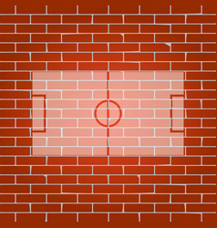 soccer field whitish icon on brick wall vector image