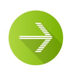 Striped arrow flat design long shadow glyph icon vector