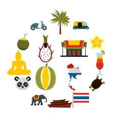Thailand icons set flat ctyle vector