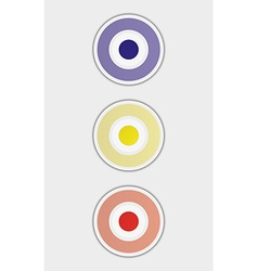 Three color badges or buttons vector