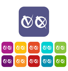 Tick and cross in circles icons set vector
