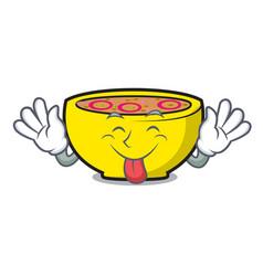 Tongue out soup union mascot cartoon vector