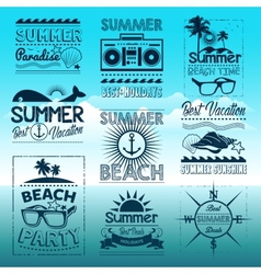 Vintage summer typography design with labels vector