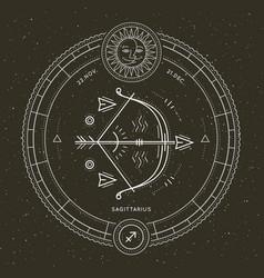 Vintage thin line sagittarius sign label vector