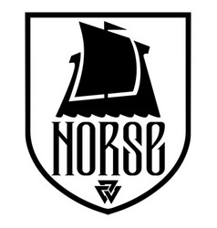 Warship vikings drakkar logo ancient vector