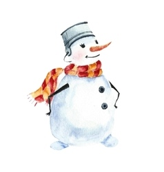 Watercolor snowman merry symbol vector