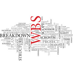 wbs word cloud concept vector image