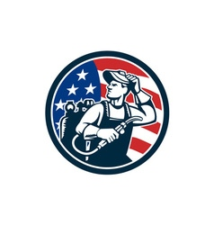 Welder Looking Side USA Flag Circle Retro vector image