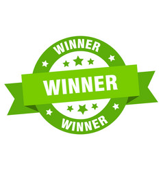winner ribbon winner round green sign winner vector image